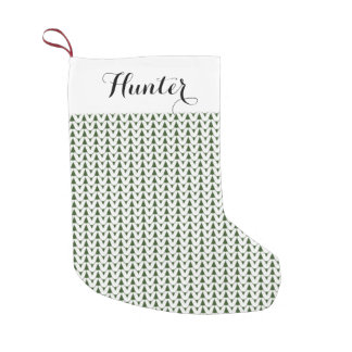 Knit Stockinette Stitch White Crafts Print + Name Small Christmas Stocking
