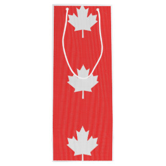 Knit Style Maple Leaf Knitting Motif Wine Gift Bag