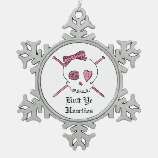 Knit Ye Hearties -Skull & Knitting Needles (Pink) Snowflake Pewter Christmas Ornament