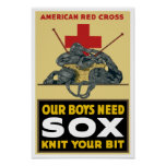 Knit Your Bit - Vintage Red Cross Poster