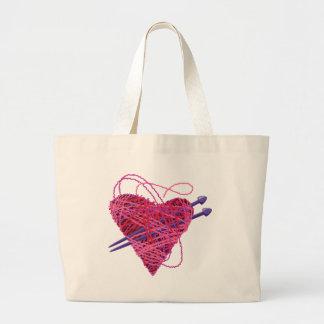 kniting pink heart jumbo tote bag