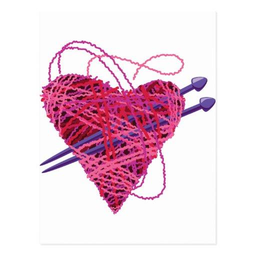 kniting pink heart postcard