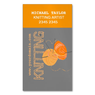 Knits Knitting Needles and Yarn  Craft Artist Magnetic Business Cards
