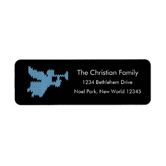 Knitted Angel with Trumpet Christian Religious UCS Return Address Label