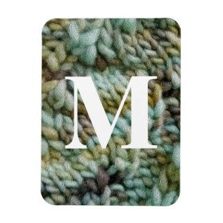 Knitted Art Yarn Crafts Custom Monogram Rectangular Photo Magnet
