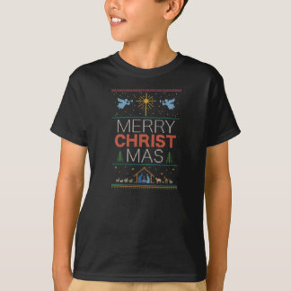 Knitted Christian Merry Christ Mas Christmas T-Shirt