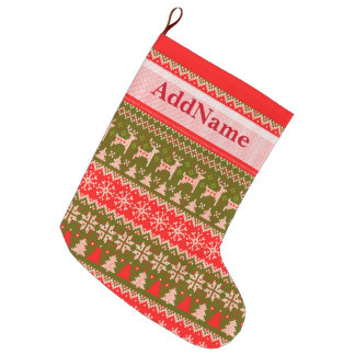 Knitted Christmas Pattern - add your name Large Christmas Stocking