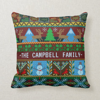 Knitted Christmas Reindeer Snowmen | Family Name Throw Pillow
