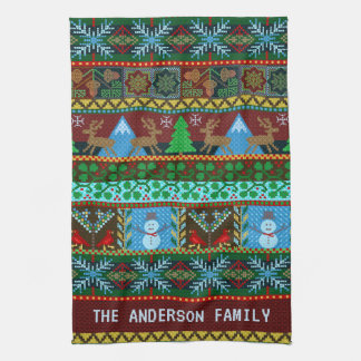 Knitted Christmas Snowmen Reindeer | Family Name Tea Towel