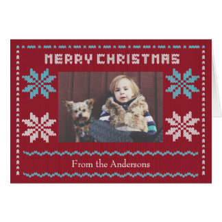 Knitted Christmas Sweater Inspired Holiday Card