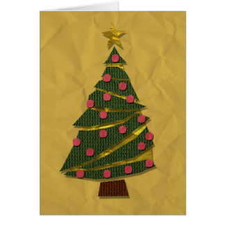 Knitted Christmas Tree Card (Gold)