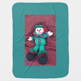Knitted clown baby blanket