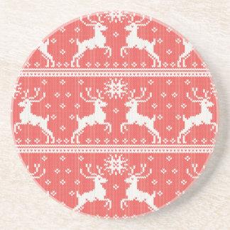 Knitted Deer Pattern Drink Coasters