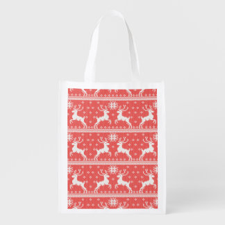 Knitted Deer Pattern Reusable Grocery Bag