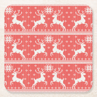 Knitted Deer Pattern Square Paper Coaster