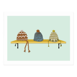 Knitted Hats on a Shelf Postcard