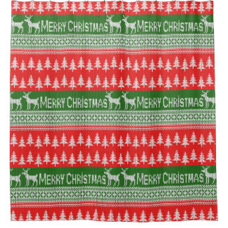 """Knitted """"Merry Christmas"""" ugly jumper pattern Shower Curtain"""