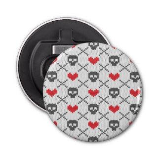 Knitted pattern with skulls bottle opener