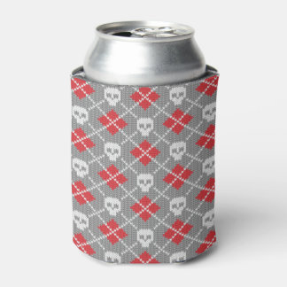 Knitted pattern with skulls can cooler