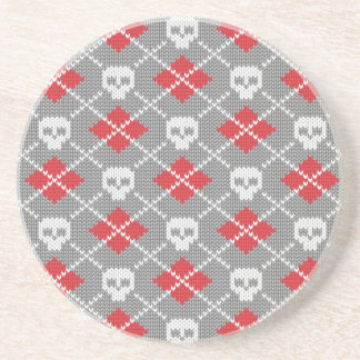 Knitted pattern with skulls coaster