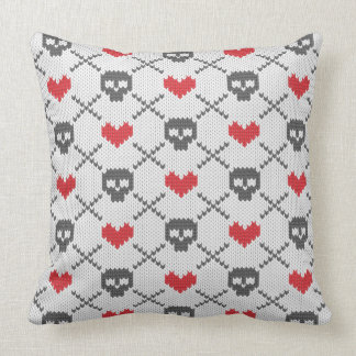Knitted pattern with skulls cushion