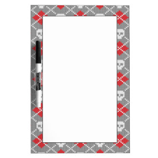 Knitted pattern with skulls dry erase board