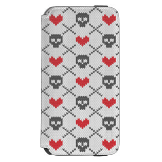 Knitted pattern with skulls incipio watson™ iPhone 6 wallet case