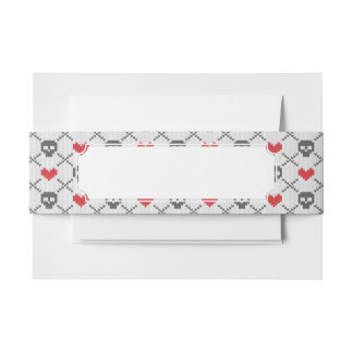 Knitted pattern with skulls invitation belly band