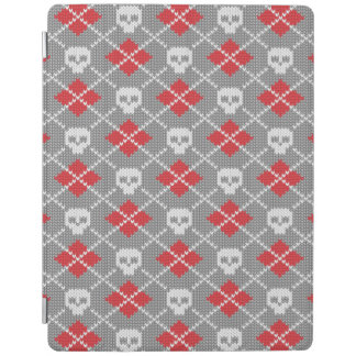 Knitted pattern with skulls iPad cover