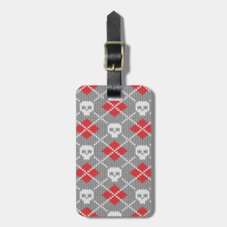 Knitted pattern with skulls luggage tag