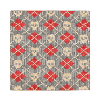 Knitted pattern with skulls maple wood coaster