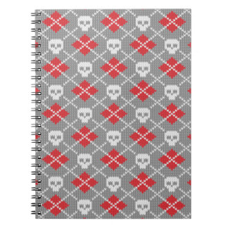 Knitted pattern with skulls notebooks