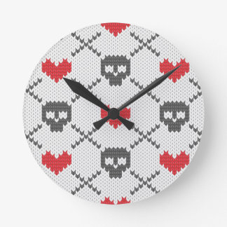 Knitted pattern with skulls round clock