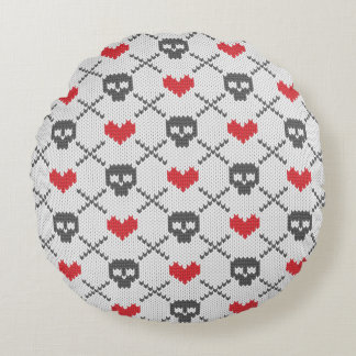 Knitted pattern with skulls round cushion