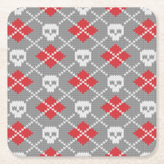 Knitted pattern with skulls square paper coaster