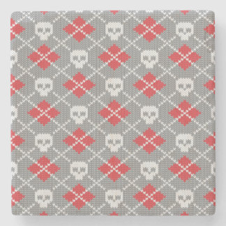 Knitted pattern with skulls stone coaster