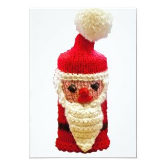 Knitted santa claus 13 cm x 18 cm invitation card
