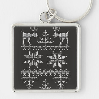knitted sweater pattern Silver-Colored square key ring