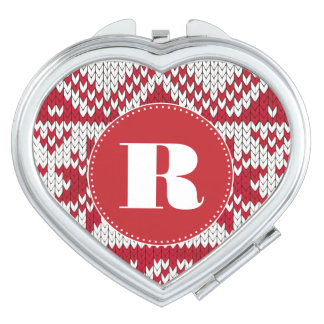 Knitted Xmas Monogram Compact Mirrors