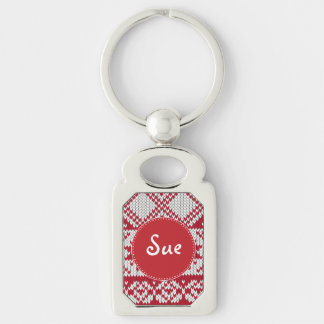 Knitted Xmas Monogram Silver-Colored Rectangle Key Ring