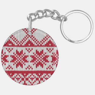 Knitted Xmas pattern in red and white Double-Sided Round Acrylic Key Ring