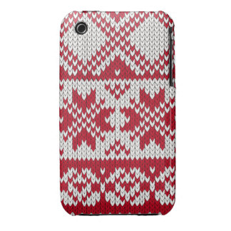 Knitted Xmas pattern in red and white iPhone 3 Covers