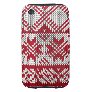 Knitted Xmas pattern in red and white iPhone 3 Tough Cases