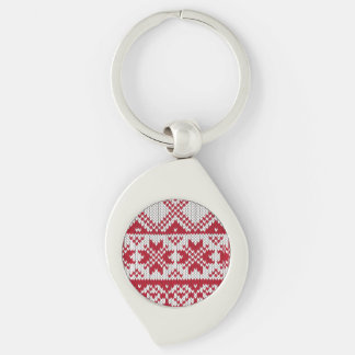 Knitted Xmas pattern in red and white Key Chain