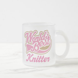 Knitter Gift Frosted Glass Coffee Mug