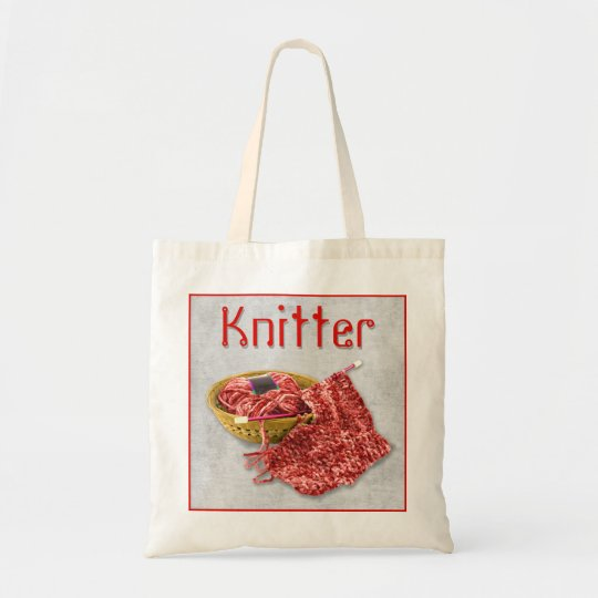 Knitter - Hand Knit red Chenille Yarn Tote