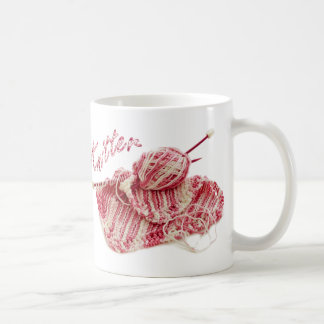 """Knitter"" Pink and White Hand Knit Photo Classic White Coffee Mug"