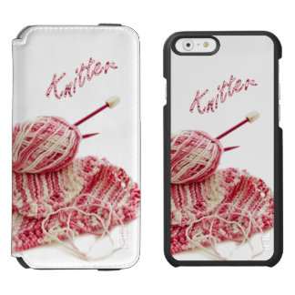 """Knitter"" Pink and White Hand Knitting Incipio Watson™ iPhone 6 Wallet Case"