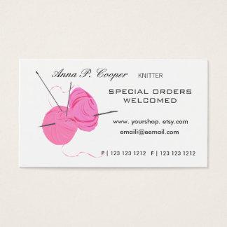 Knitter Pink Cute Yarn Balls & Needles Business Card