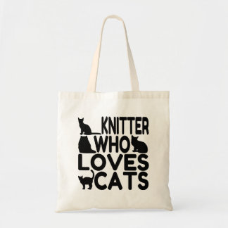 Knitter Who Loves Cats Budget Tote Bag